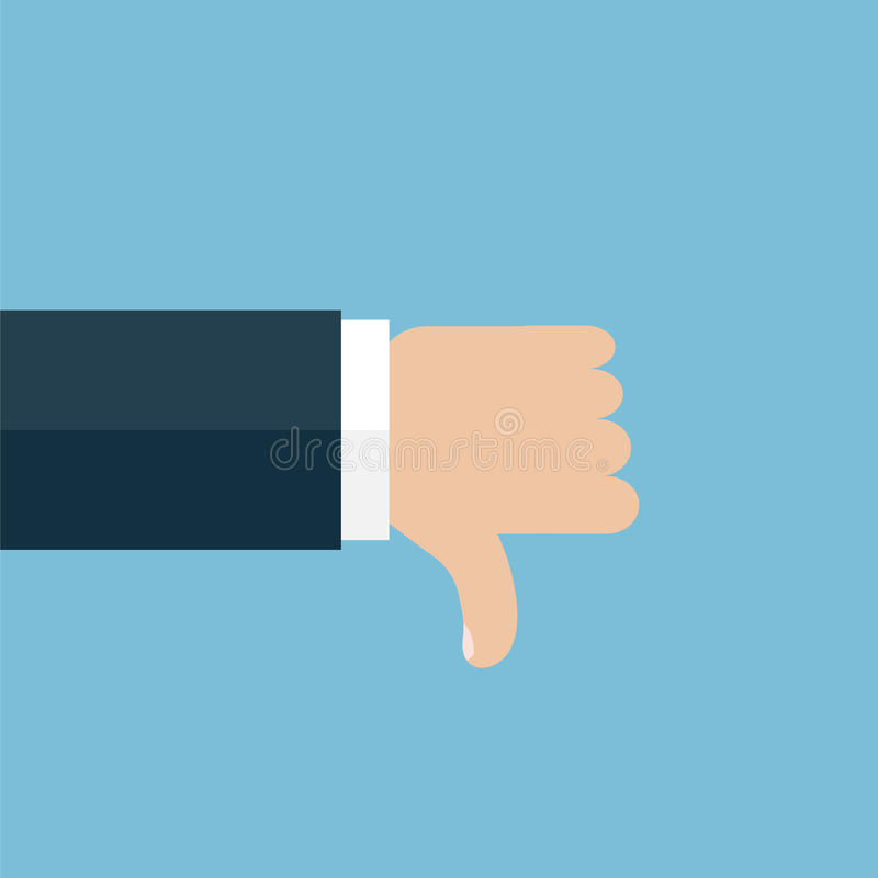 Thumb down vector icon on blue background stock illustration