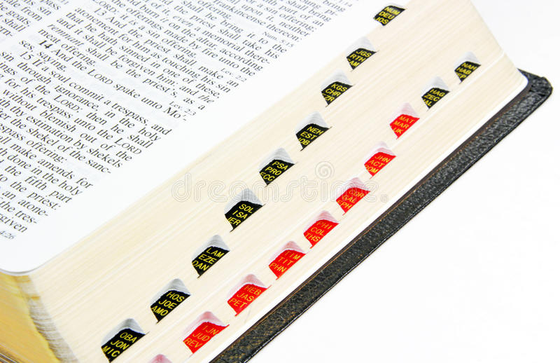 Thumb Index. The side of a Holy Bible showing thumb index for easy reference of the books of the Bible royalty free stock image