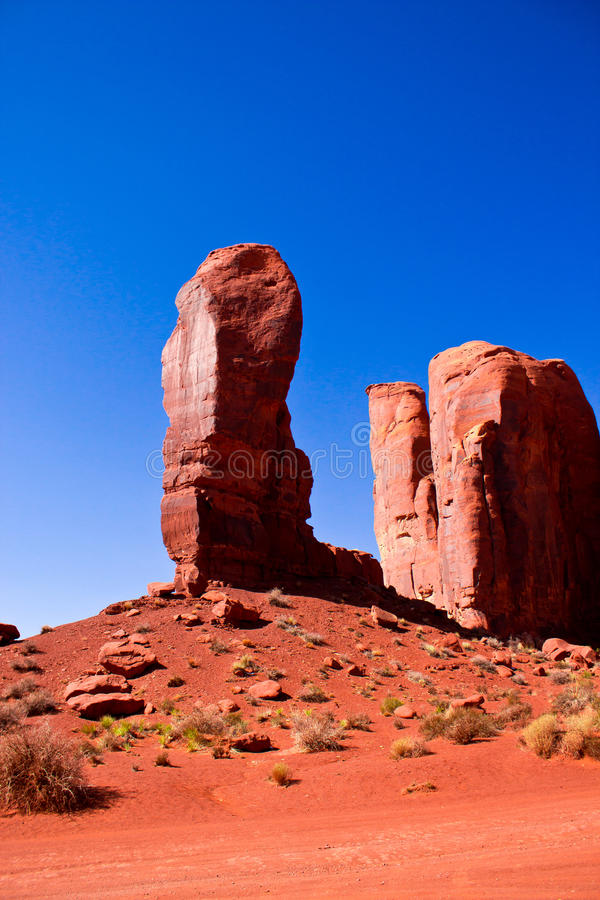 The Thumb, Monument Valley National Park. The Thumb, a peculiar rock formation in Monument Valley National Park stock image