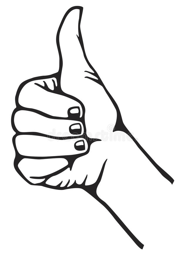 Thumb up. Hand in black and white gesturing thumb up stock illustration