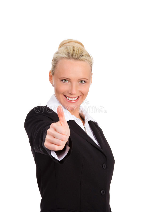 Thumb up. Businesswoman showing her thumb up royalty free stock photography