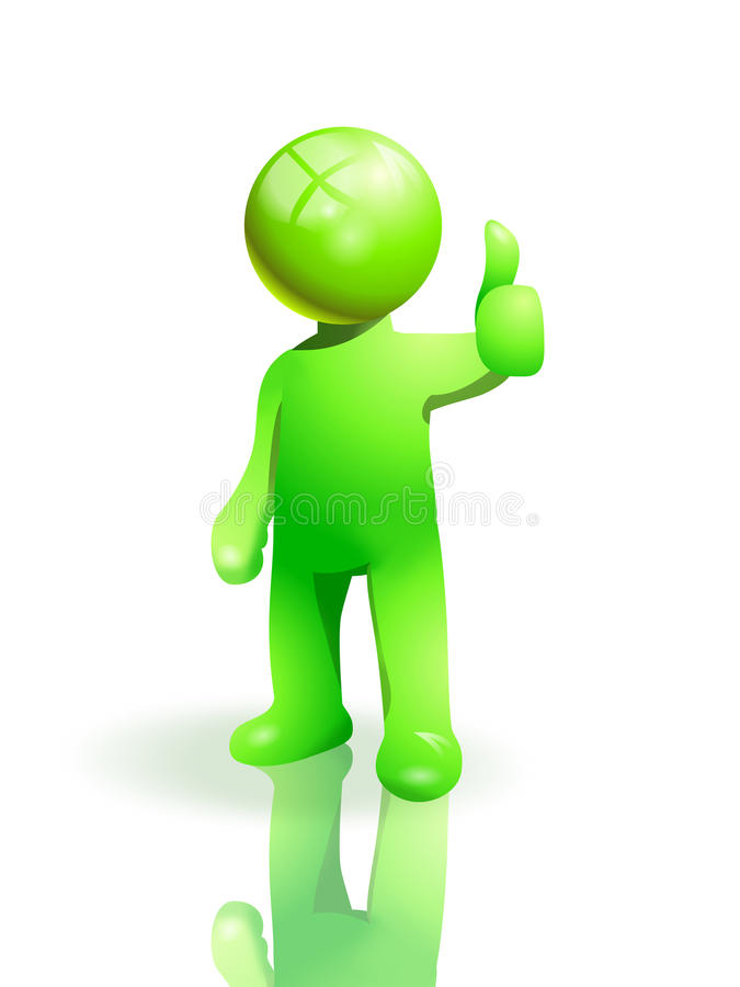 Thumb up. Green man with thumb up a positive pose vector illustration