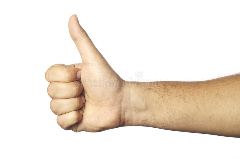 Thumb up. Man's thumb up isolated on white backgorund stock photos