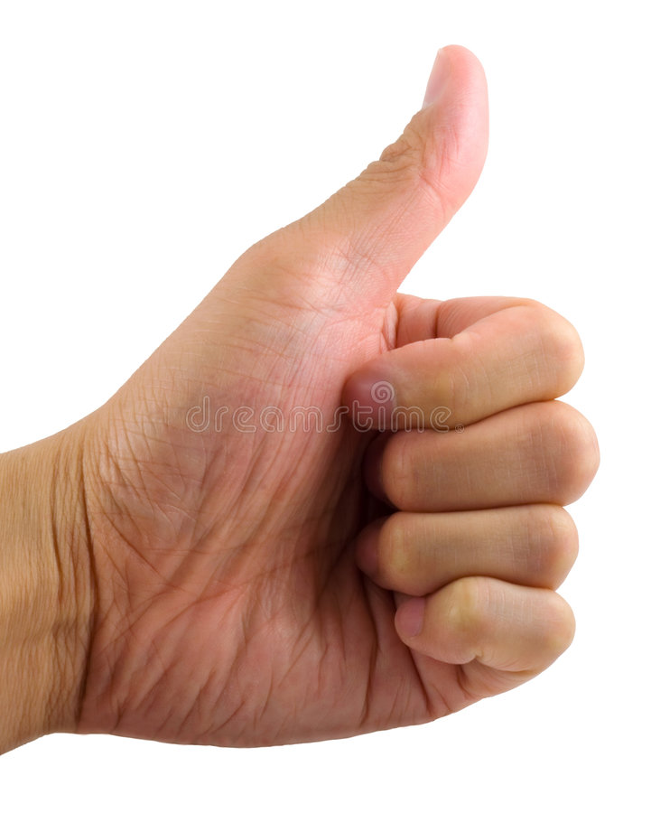 Thumb Up. Isolated in solid white background royalty free stock photography