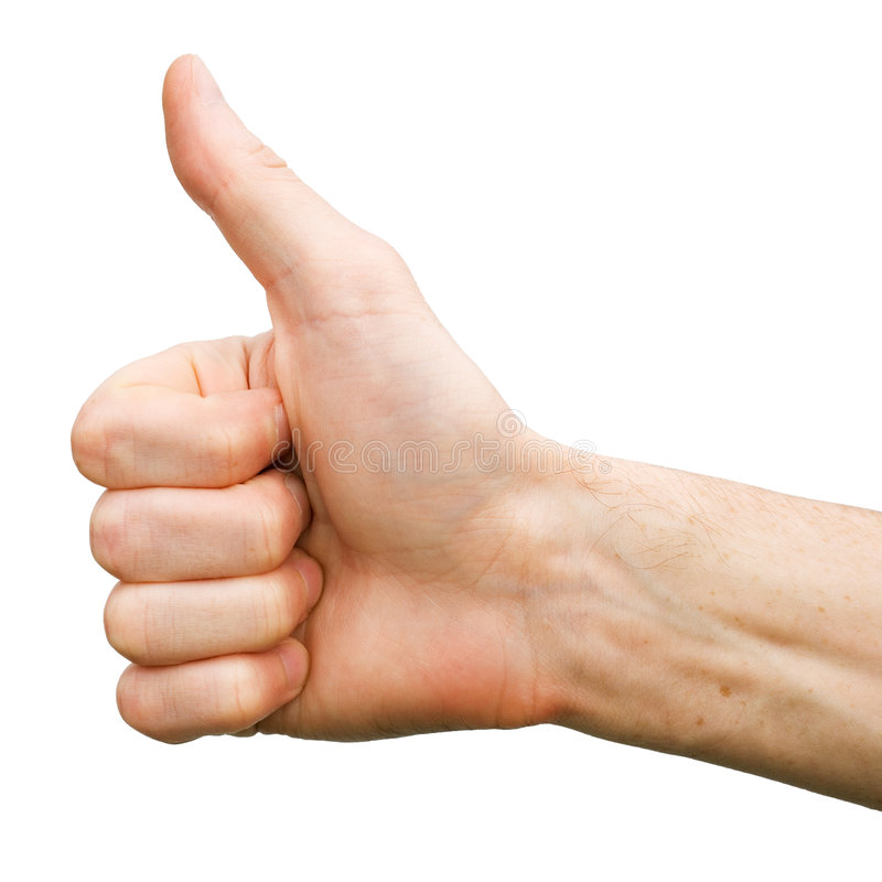 Thumb up. The man hand on white background (thumb up royalty free stock images