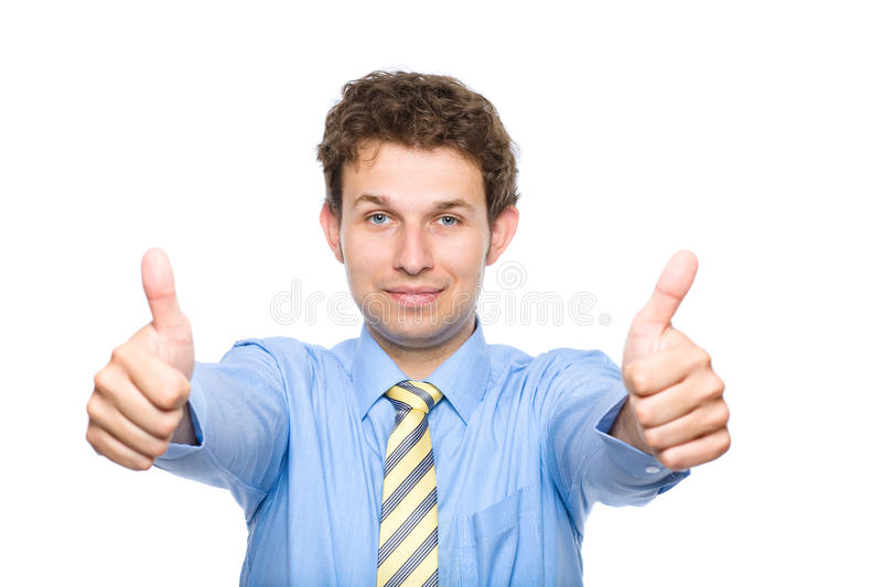 Thumb up, approval gesture, isolated on white stock image