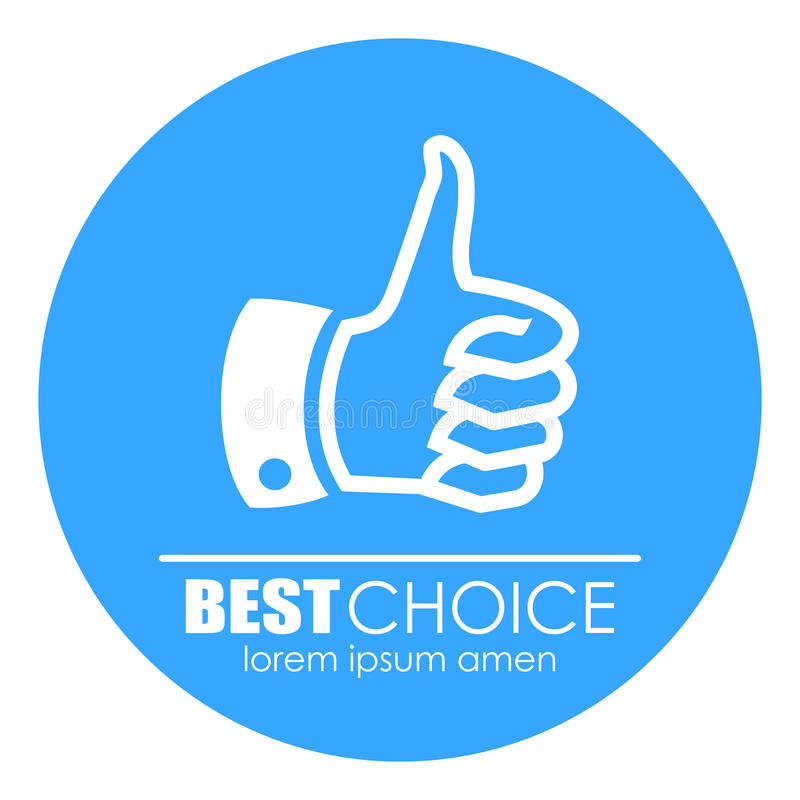 Thumb Up Best Quality Logo Illustration Stock Vector