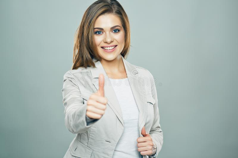 Thumb Up. Business woman portrait stock image