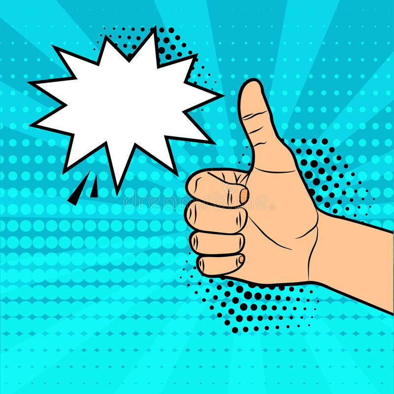 Thumb up with comic speech bubble for your text on blue background in pop art style. Vector. Illustraton royalty free illustration