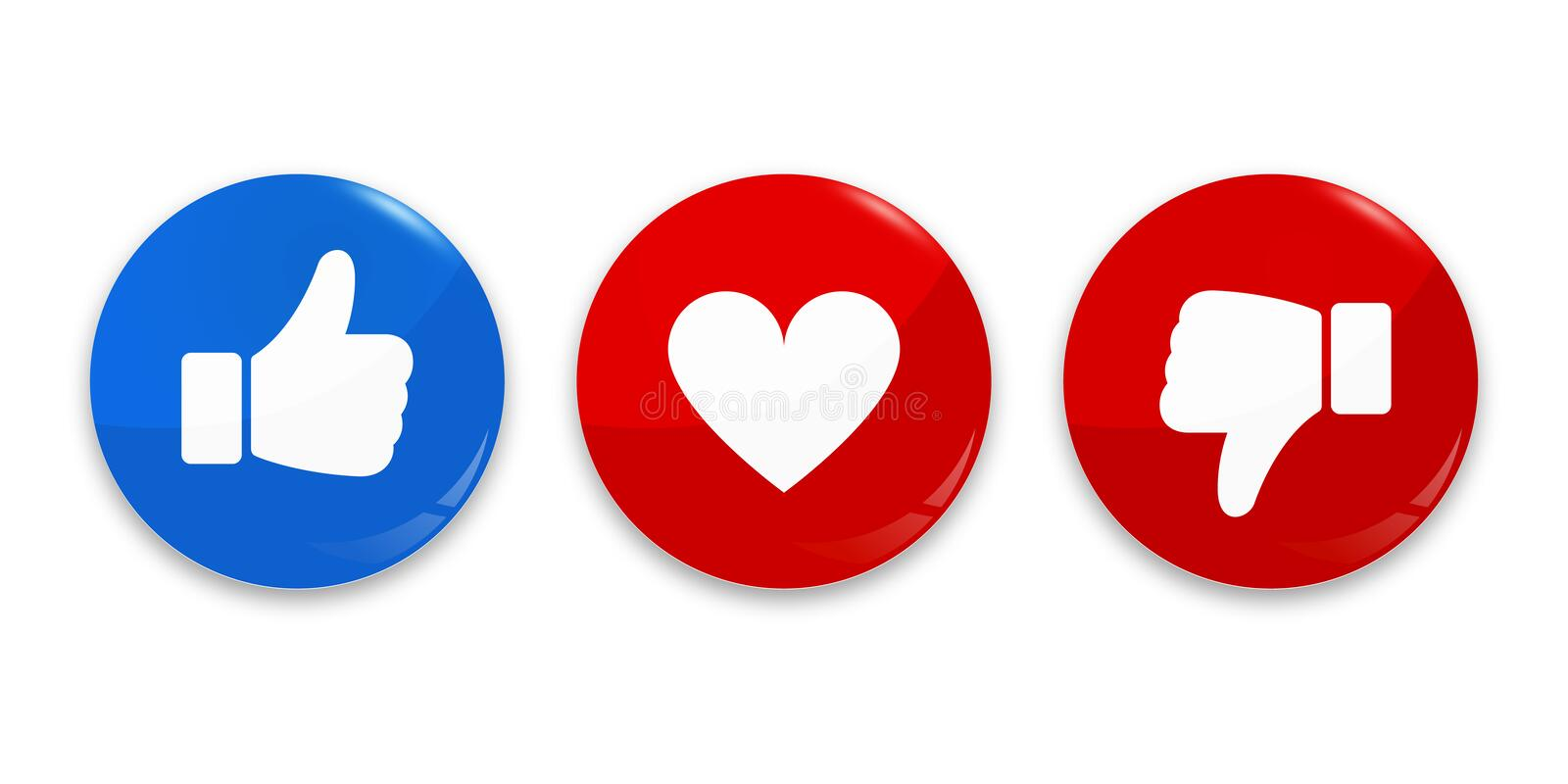 Thumb up, down and heart icon. Vector like, dislike and love icon stock image