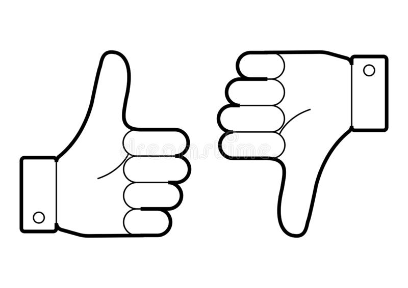 Thumb up and down. I like and dislike. Vector illustration vector illustration