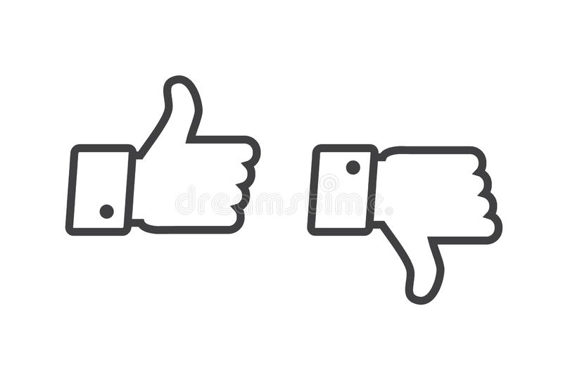 Thumb up and thumb down icons set isolated on a white background stock images