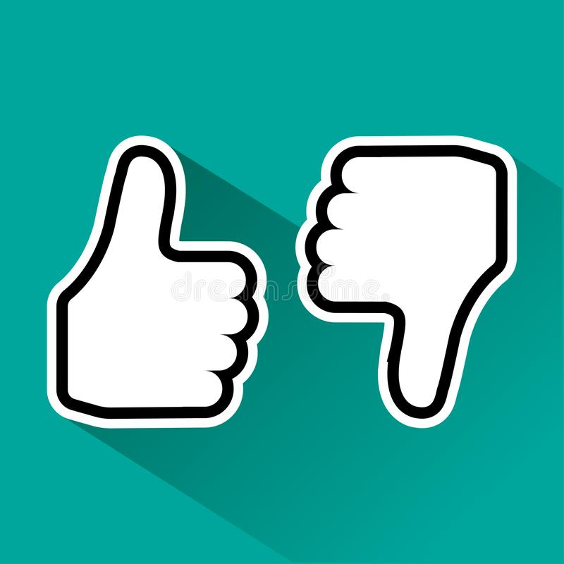 Thumb up and down. Like and dislike. Vector illustration vector illustration