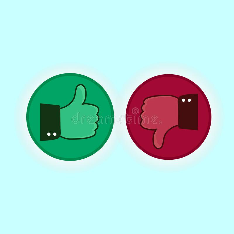 Thumb up and down red and green icons. Vector illustration. I like and dislike round buttons in flat royalty free illustration