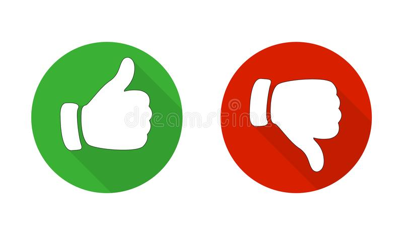 Thumb up and down red and green icons. Vector illustration. I like and dislike round buttons in flat design. Vector vector illustration