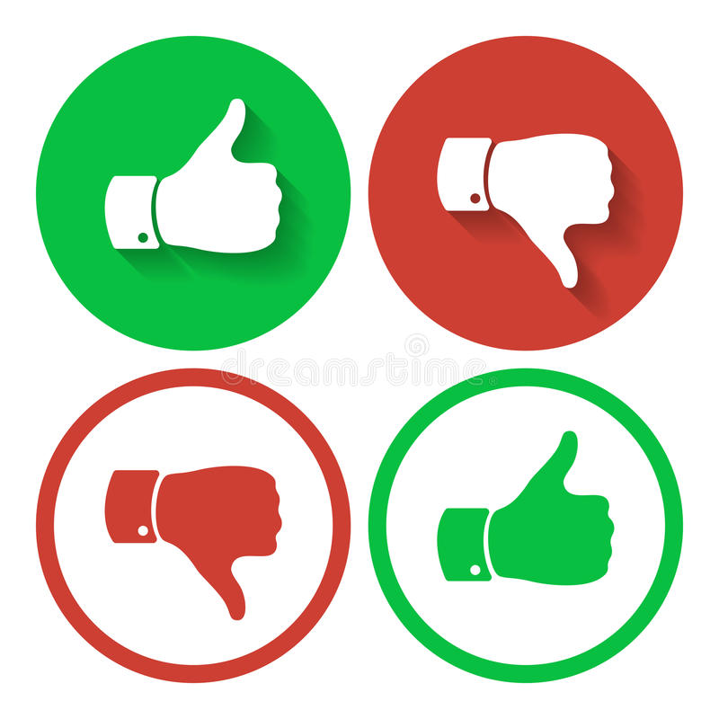 Thumb up and down symbols. Human hand icon. Sign of Like stock illustration