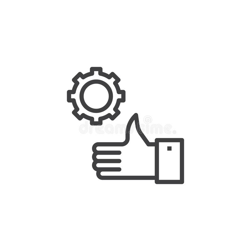 Thumb up gear line icon. Linear style sign for mobile concept and web design. Confirm settings outline vector icon. Symbol, logo illustration. Pixel perfect stock illustration