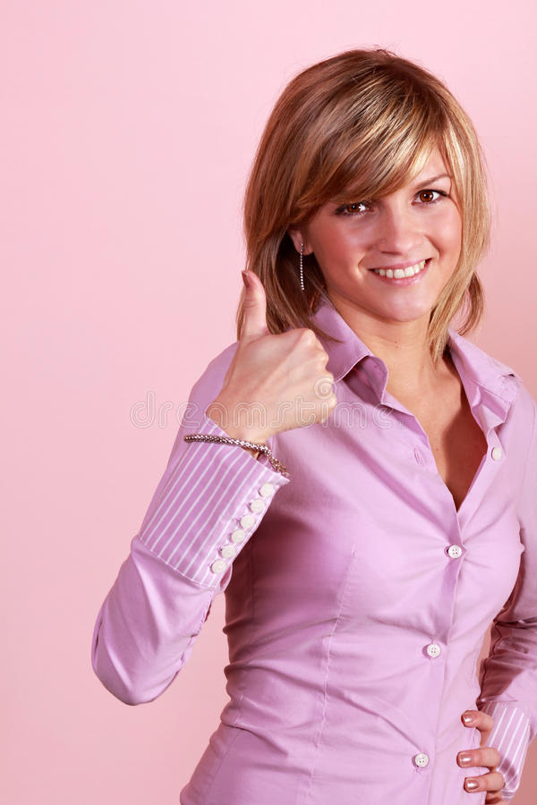 Download Thumb Up Gesture From Attractive Girl Stock Image - Image of portrait, expression: 25370189