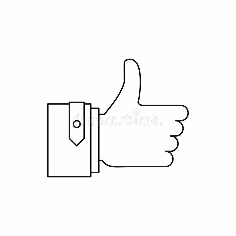 Thumb up gesture icon, outline style. Thumb up gesture icon in outline style on a white background stock images