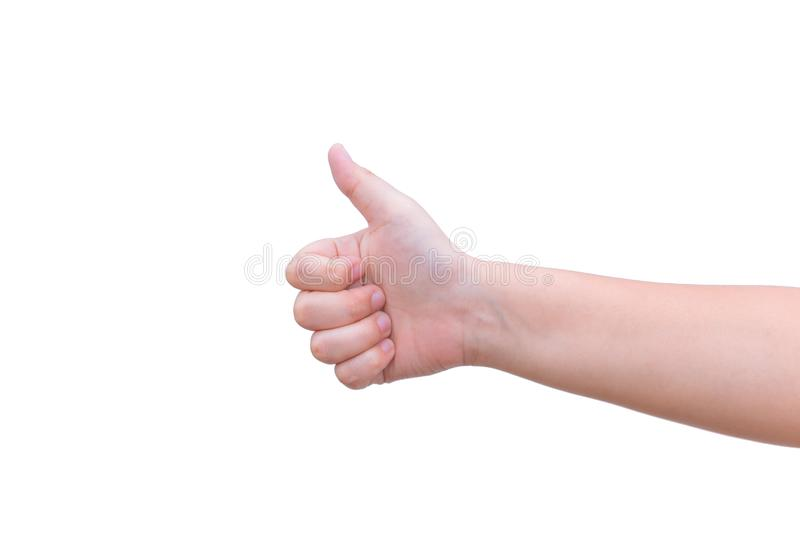 Thumb up hand good like posture stock image