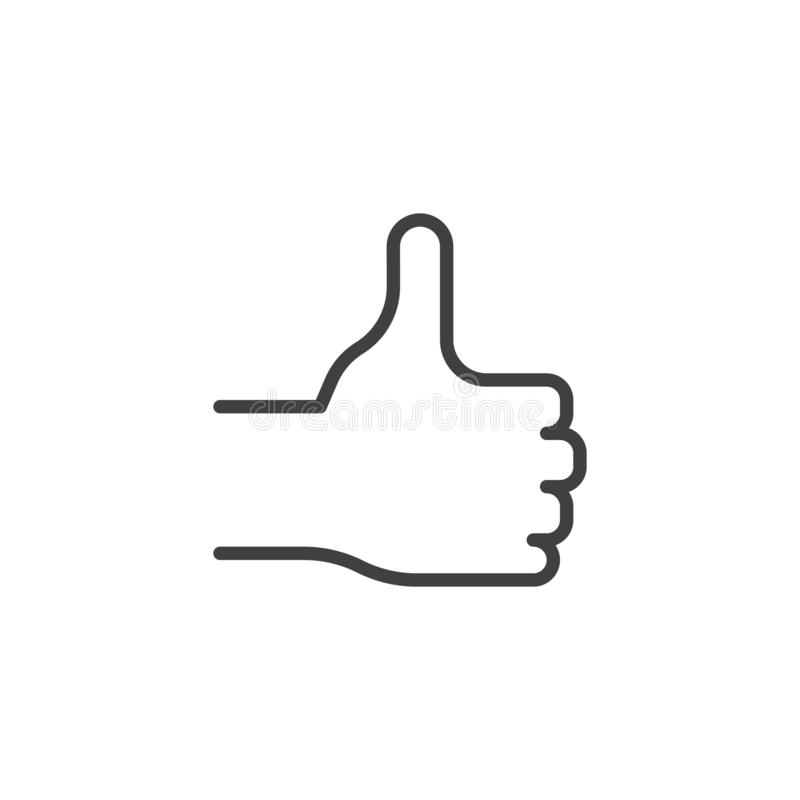 Thumb up, hand line icon stock illustration