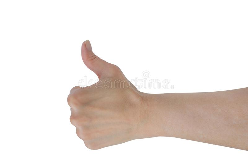Thumb up hand sign. woman hand showing thumb up, like, good, approval, acceptance, okay, ok, positive hand gesture. Thumb up hand sign. woman hand showing thumb stock photo