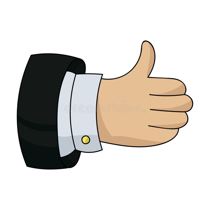 Thumb up icon in cartoon style isolated on white background. Thumb up icon in cartoon design isolated on white background. Conference and negetiations symbol vector illustration