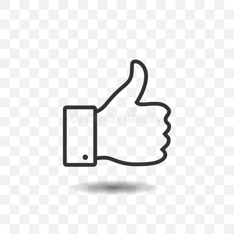 Thumb up icon. Thumb up icon with shadow on transparent background stock illustration