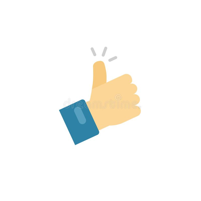 Thumb up icon vector symbol, flat cartoon thumbs-up or like sign with hand finger isolated clipart stock illustration