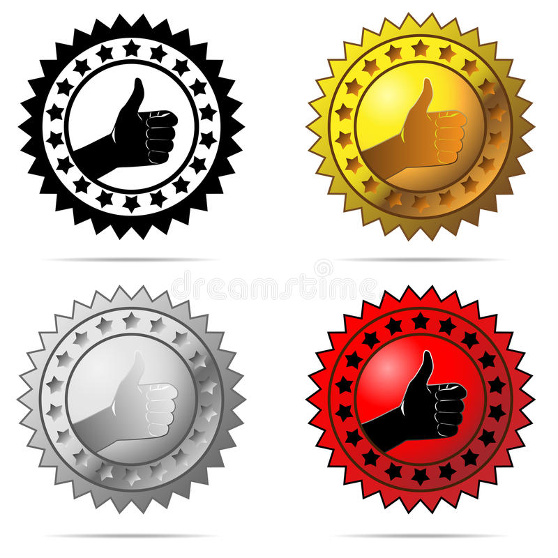 Thumb up label. Vector labels with thumb up sign symbolizing best choice, best price, high quality, etc. isolated on white background royalty free illustration