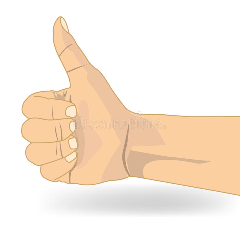 Thumb up like hand symbol vector. Isolate on white royalty free illustration