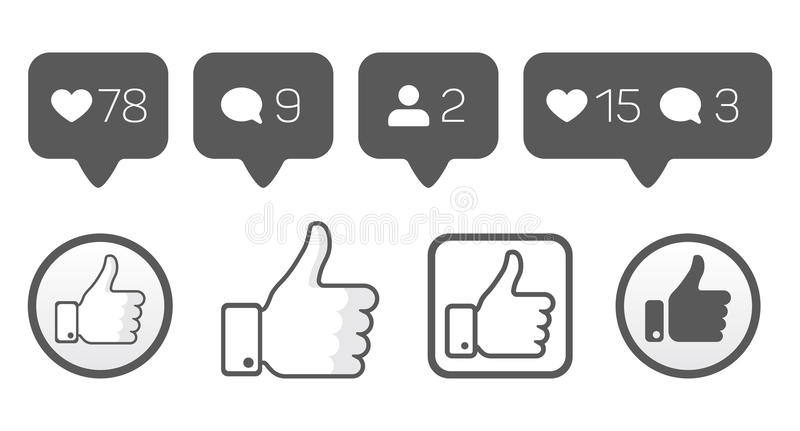 Thumb up, like icons, follower comment vector set stock illustration