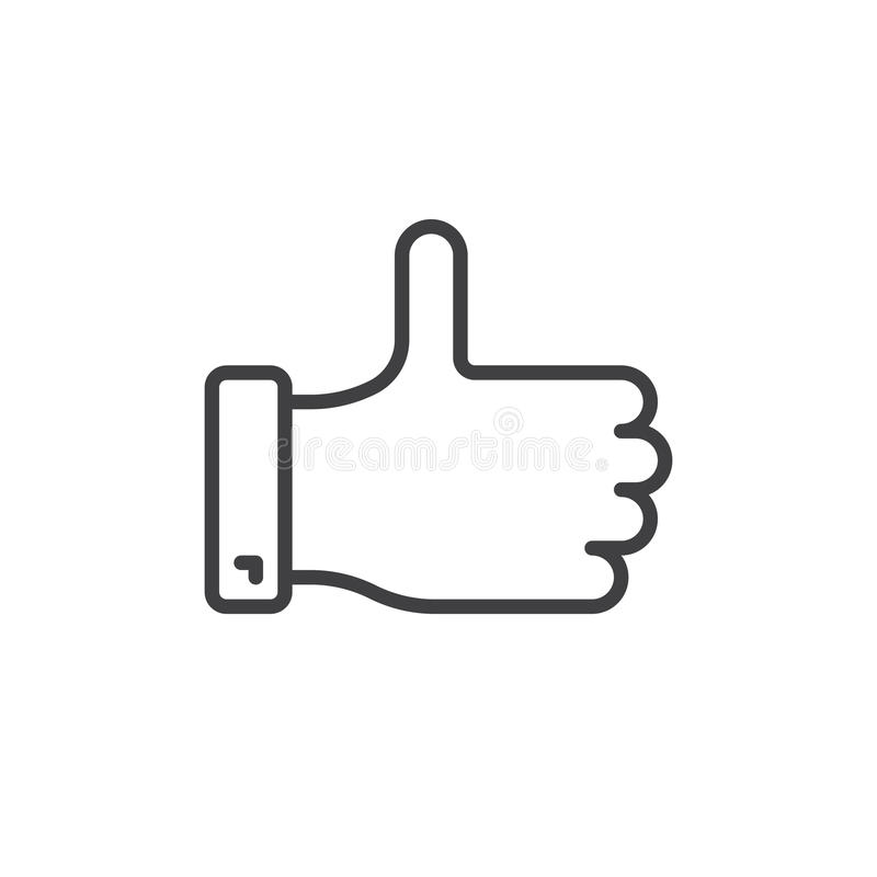 Thumb up line icon, outline vector sign stock illustration