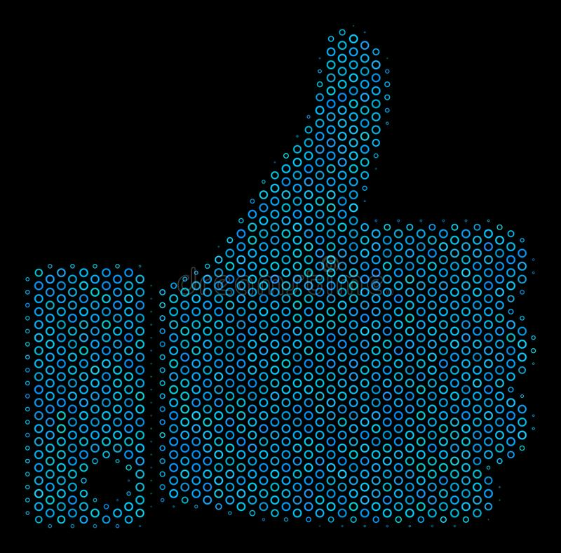 Thumb Up Mosaic Icon of Halftone Spheres vector illustration