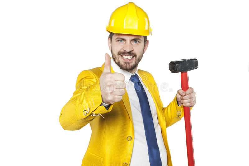 Thumb up for a new investments. Business man royalty free stock photos