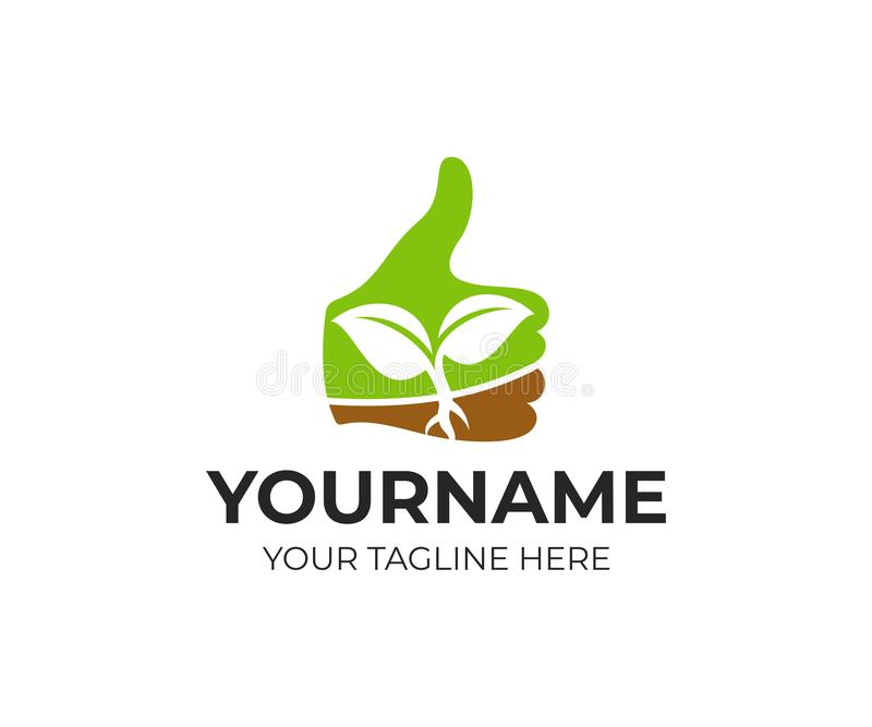 Thumb up with sprout inside, logo template. Farming and agriculture, vector design royalty free illustration