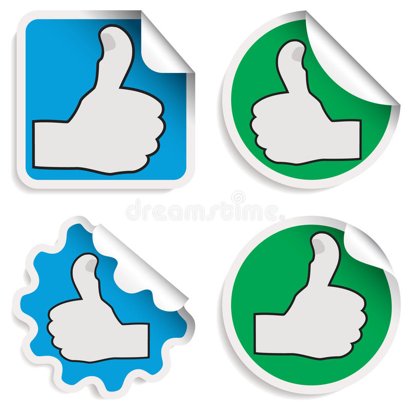 Thumb up stickers. Isolated on white vector illustration