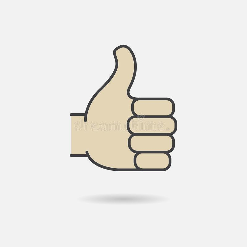 Thumb up symbol. Finger up icon vector illustration. Like sign skin color isolated on white background stock illustration