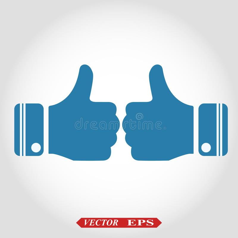 Thumb Up vector icon. Style is flat symbol, cobalt color, rounded angles, white background. eps10 stock illustration