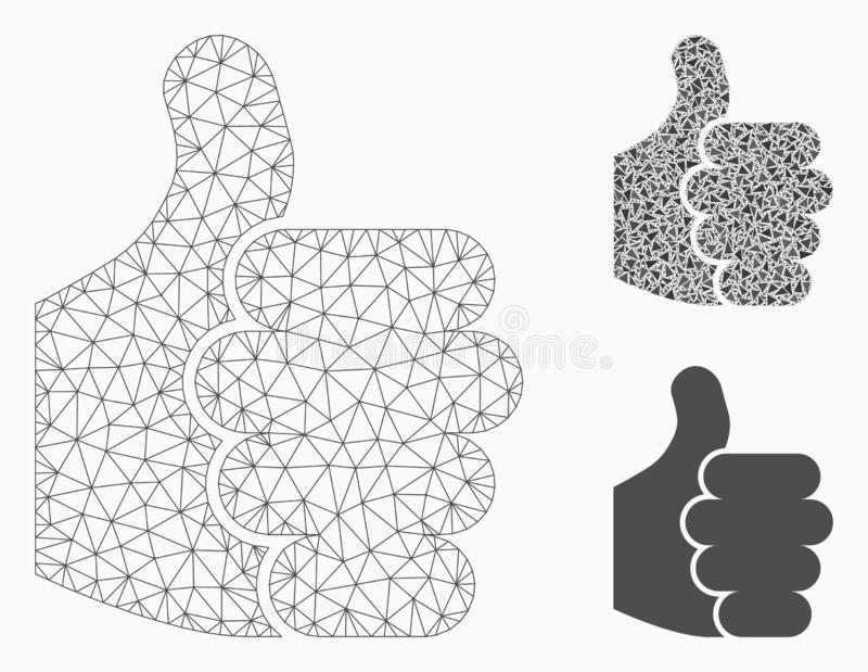 Thumb Up Vector Mesh Carcass Model and Triangle Mosaic Icon. Mesh thumb up model with triangle mosaic icon. Wire carcass polygonal mesh of thumb up. Vector stock illustration
