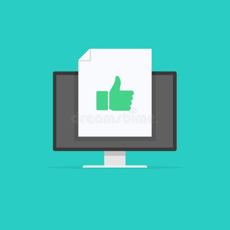 Thumb up vector. Social media concept in monitor. Vector illustration. vector illustration