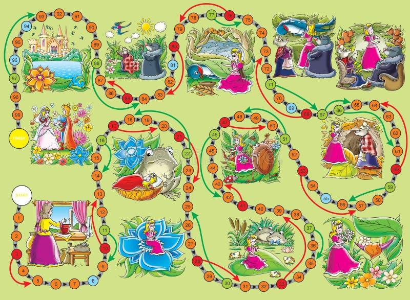 thumbelina επιτραπέζιων παιχνιδιών διανυσματική απεικόνιση
