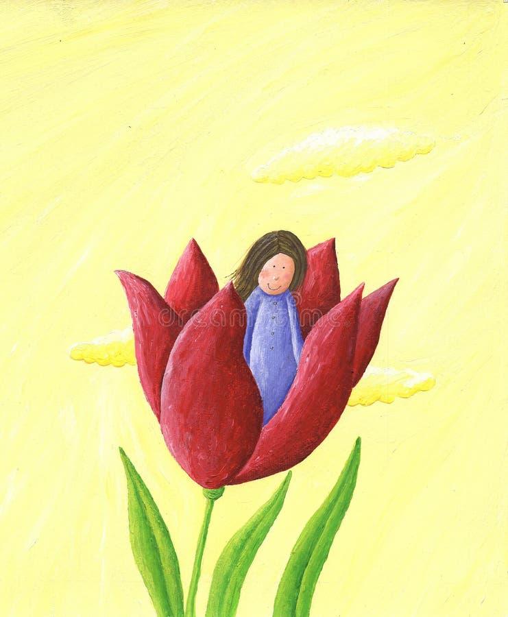 Thumbelina - κορίτσι στο λουλούδι ελεύθερη απεικόνιση δικαιώματος