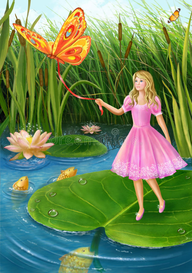 Thumbelina. Illustration by Alena Lazareva. Digital painting royalty free illustration