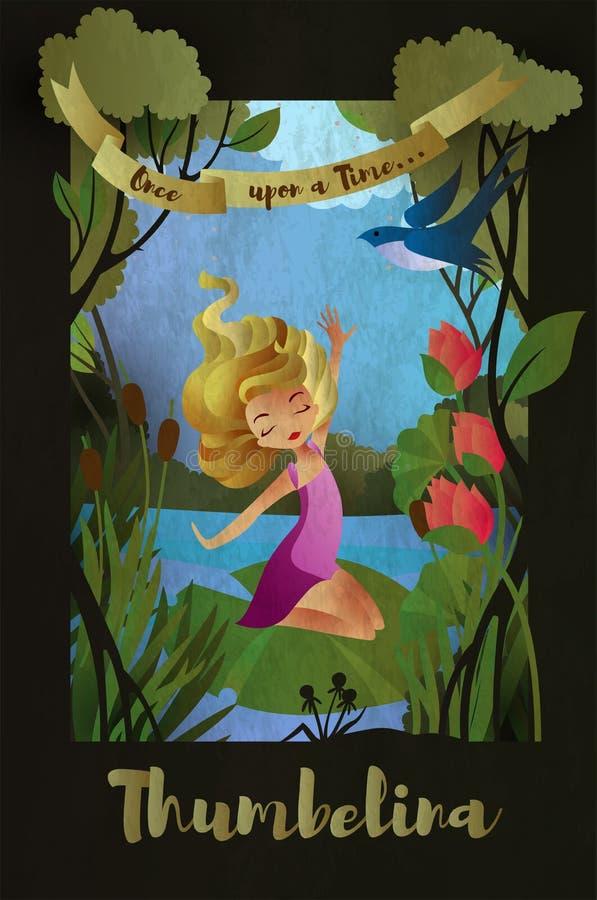 Thumbelina, caractère de conte de fées se reposant sur la feuille de nénuphar Calibre de couverture de livre Illustration de vect illustration libre de droits