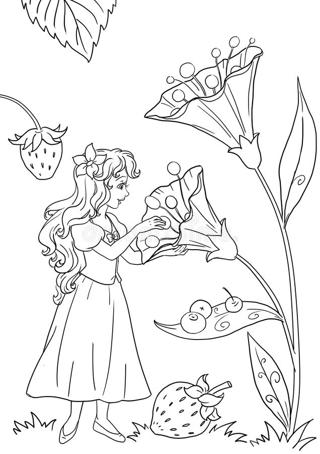 download thumbelina coloring page illustration stock illustration image 85178196