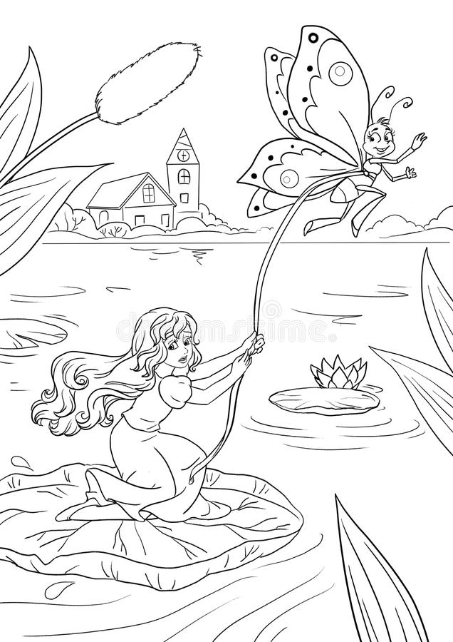Thumbelina escapes. Coloring book page with Thumbelina fairy tale scene royalty free illustration