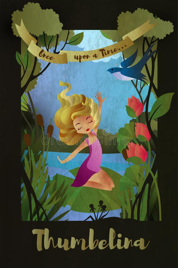 Free Thumbelina, Fairy Tale Character Sitting On The Water Lily Leaf. Book Cover Template. Vector Illustration Stock Photography - 135703002