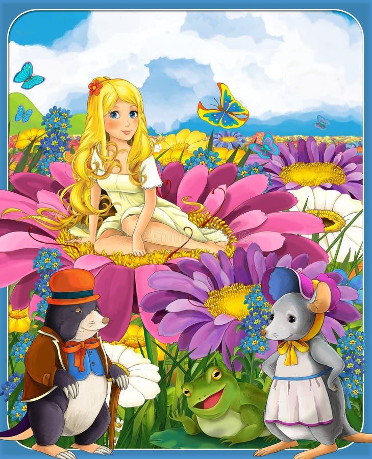 Thumbelina - princesas - castelos - cavaleiros e fadas - Manga Girl bonito - ilustração para as crianças ilustração do vetor