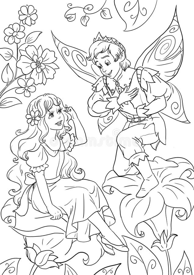 Thumbelina`s fairytale happy ending. Coloring book page with fairy with Thumbelina and a flower elf king royalty free illustration